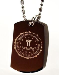 Department of Justice Federal Bureau of Investigation Fbi Seal Logo Symbols - Military Dog Tag Luggage Tag Key Chain Keychain Metal Chain Necklace * Discover this special dog product, click the image : Dogs ID tags and collar accessories
