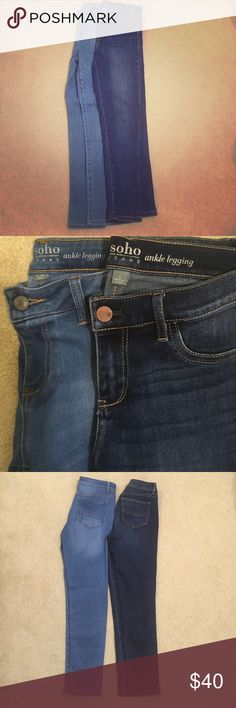 Soho Ankle jean leggings NWOT Soho Ankle jean leggings in brand new condition! Super stretchy, mid-rise, and flattering. Thanks for looking! Open to offers and trades! Soho Apparel Jeans Ankle & Cropped
