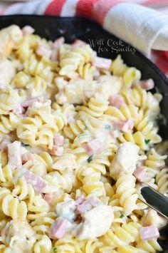 Chicken Cordon Bleu Pasta Dish | from willcookforsmiles.com #cordonbleu #pasta