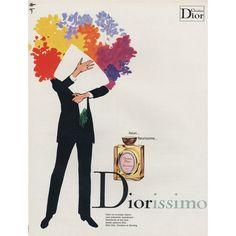 Rene Gruau - 1970 French vintage perfume advertisement is for Christian Dior's Diorissimo perfume.
