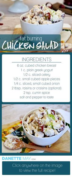 This easy & healthy chicken salad is one of my most popular recipes! I have a ton of clean, healthy recipes in my book, Bikini Body Recipes. You'll get over 150 of my best Fat Burning recipes. Who has time to slave away in the kitchen? Not me! That's why all of my recipes are easy & can be whipped up in about 10 minutes AND my book even includes meal plans based on your individual activity level.  http://www.eatdrinkshrinkplan.com/bikini-body-recipes-offer/: