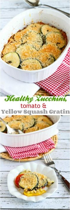 Healthy Zucchini, Tomato and Yellow Squash Gratin calories and 3 Weight Watchers PP Side Dish Recipes, Veggie Recipes, Great Recipes, Cooking Recipes, Favorite Recipes, Side Dishes, Healthy Zucchini, Zucchini Tomato, Healthy Snacks