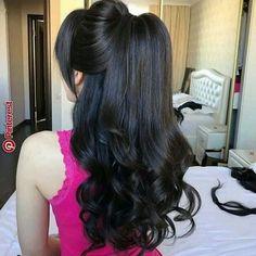 Ideas hair cuts wavy layers curls for 2019 Ponytail Hairstyles, Bride Hairstyles, Hairstyles Haircuts, Pretty Hairstyles, Braid Ponytail, Blonde Hair Goals, Hair Up Styles, Elegant Wedding Hair, Bridal Hair