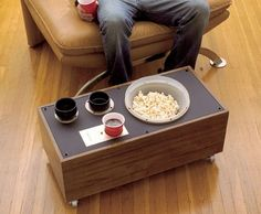 Make clunky old speakers into serving side tables