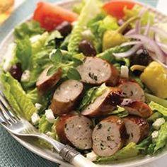 Greek Salad with Spinach & Feta Chicken Sausage