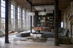 Concrete design floor. Urban-industrial-like livingroom.