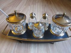 Vintage 1950s Gold Topped Cruet/Condiment/Breakfast Set by VintageRetroTreasues on Etsy