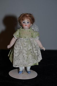 Antique Doll Miniature All Bisque Glass Eyes Dollhouse