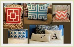 Use the stencil vinyl and fabric ink to create these gorgeous throw pillows.