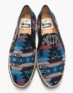 H by Hudson blue woven orca espadrille loafers, ethnic print