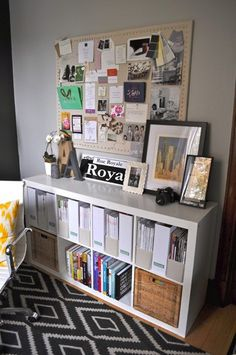 "1 Room, 2 Ways: Style The Trickiest Room In Your House! #refinery29  http://www.refinery29.com/living-archive-118#slide-8  Tip #6: ""Flip magazine holders around when you've got lots of loose papers or files to hide. Flip them forward to display your favorite magazines.""  Tip #7: ""My bulletin board is a DIY project, because I couldn't find a linen-covered co..."