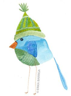 Green Hat Watercolor Bird Print   Flickr - Photo Sharing!