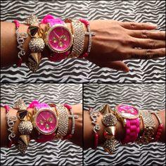 Pink & Gold Watch Set