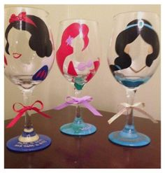 Hand painted Disney theme wine glasses.