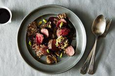Stephanie Izard's Roasted Lamb Medallions with Mushrooms, Pistachios, and Blackberry on Food52 #food52