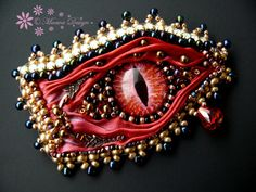 Bead embroidered Brooch RED FURY Shibori silk ribbon Eye Beadwork Ebw Team Ebeg seed beaded jewelry on Etsy, $73.35 AUD