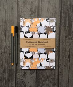 Staring Cats Cute Fat Cat Animal Patterned A5 Paperback Notebook - Lined or…