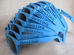 Set of 10 BLUE personalized sunglasses for Wedding Party/Favor Birthday Family Reunion Summer Camp Any Occasion