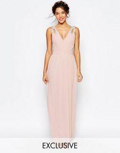 TFNC WEDDING Wrap Embellished Maxi Dress