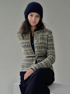 SHADOW classic jacket in tweedy stripes knitted in Rowan Felted Tweed from STILL by Kim Hargreaves - English Yarns