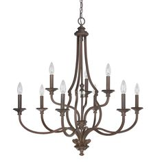 This Leigh collection 9-light chandelier features a beautiful hand painted burnished bronze finish that will complement transitional decors. The glass ball in the center column adds interest to this simple but elegant design.