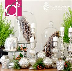 Gorgeous silver decor with pinecones