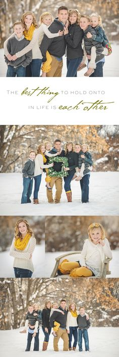 Great tip for family Christmas photo: Hold a Wreath! Winter family shoot, Mustard and gray, Snow photos.