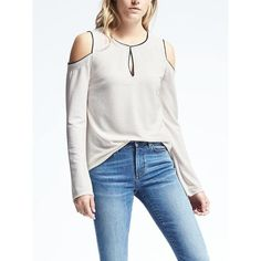 Banana Republic Womens Crepe Cold Shoulder Top ($68) ❤ liked on Polyvore featuring tops, snow day, white long sleeve top, white open shoulder top, cut-out shoulder tops, cutout tops and banana republic
