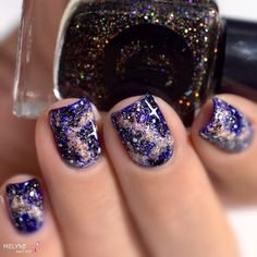 Galaxy nails featuring Cirque Colors Facets Collection