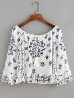 Shop White Boat Neck Tribal Print Lace Up Ruffle Hem Top online. SheIn offers White Boat Neck Tribal Print Lace Up Ruffle Hem Top & more to fit your fashionable needs. Vintage Tops, Vintage Shirts, Blouse Vintage, Long Sleeve Peplum Top, Long Sleeve Tops, Ruffle Sleeve, Flutter Sleeve, White Peplum Tops, White Tops