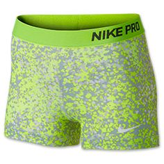 Women's Nike 3 Inch Pro Core Compression Printed Shorts | FinishLine.com | Base Grey/Volt/White