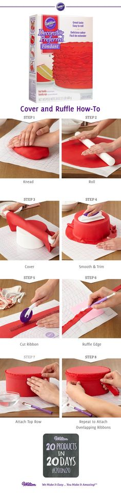 Fondant cover & ruffle picture tutorial: