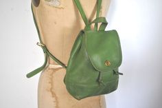Apple Green COACH Backpack Bookbag Purse / Leather bag by badbabyvintage on Etsy