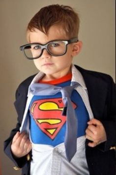 Love this kid dressed as Clark Kent.  See more fun Halloween costumes and party ideas at one-stop-party-ideas.com