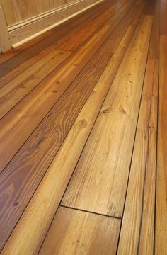 """Prefinished """"Old Dirty Goat"""" wide plank flooring. - RECLAIMED heart pine."""