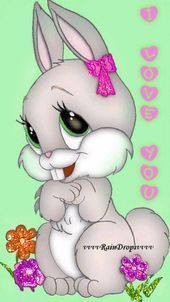 rabit I love you I'm 'Miss Blossom's friend Esther. Such a flirt. Easter Drawings, Animal Drawings, Cute Drawings, Easter Pictures, Cute Pictures, Happy Easter Gif, Ostern Wallpaper, Bunny Images, Images Wallpaper