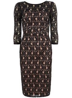 Black and Blush Lace Dress