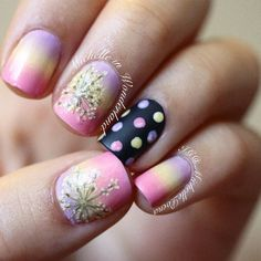 Dried Flowers.... used:  IsaDora- Mellow Yellow, Essie- Lovie Dovie, Barry M- Berry Ice Cream, on the accent nail I used black polish from Pierre René and Matte About You by Essie as a top coat.  :) - @michellepoena