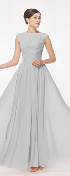 Simple And Elegant Long Bridesmaid Dresses Ideas For Your Best Bridesmaid Peach Prom Dresses, Grey Bridesmaid Dresses, Modest Dresses, Formal Dresses, Modest Evening Gowns, Maxi Dresses, Cap Dress, Ball Gown Dresses, Dance Dresses