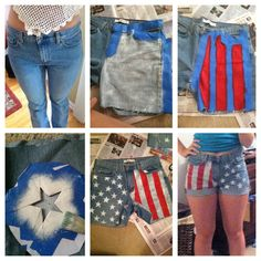 Jeans to American flag shorts!  I used 1.41 in blue tape for the stripes Martha Stewart Craft Multisurface satin paint - wedding cake (white) and tartan red And a star pattern printed from offline. I used painters tape to make sure the star pattern was sturdy enough to be painted Tip: if you're going to cuff them, make the shorts a lot longer than you think you would want them to be.  Overall it was a really easy project and the shorts came out great!