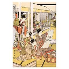 "Buyenlarge Painting in the House by Kitigawa Utamaro Painting Print on Wrapped Canvas Size: 20"" x 30"""