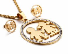 Jewelry Sets Inspired by the Genuine Love of a Mother Material: Stainless steel – Gold plated Size: Necklace Length: Size: Pendant: Girls Jewelry, Girls Necklaces, Jewelry Sets, Jewelry Necklaces, Mothers Of Boys, Mothers Love, Genuine Love, Stainless Steel Jewelry, Beautiful Love