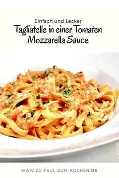 Tagliatelle in a tomato mozzarella sauce - Too lazy To .-Tagliatelle in einer Tomaten Mozzarella Sauce – Zu Faul Zum Kochen ? Pasta with tomato mozarella sauce - Tortellini, Pizza Recipes, Snack Recipes, Cooking Recipes, Budget Recipes, Dinner Recipes, Tomate Mozzarella, Mozzarella Pasta, Sauce Tomate