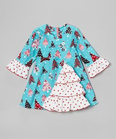 Take a look at this Teal Christmas Tree A-Line Dress - Toddler & Girls on zulily today!