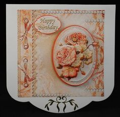 SHABBY CHIC PEACH FLORALS Topper Decoupage on Craftsuprint designed by Janet Briggs - made by Yvonne Middleton