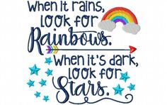 When It Rains Look For Rainbows Word Art 4X4 & 5X7 Machine Embroidery Design - Breezy Lane Embroidery