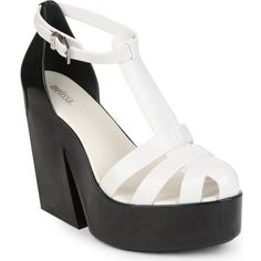 MELISSA Strips colourblock wedge sandals (£105) ❤ liked on Polyvore