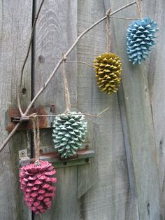 Colorful Painted Pinecone Ornament Set by 4onemore on Etsy, $10.00