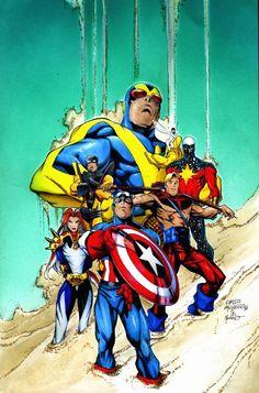 Avengers Forever by Carlos Pacheco Marvel Concept Art, Marvel Art, Marvel Avengers, Comic Book Artists, Comic Artist, Comic Books Art, Captain America Comic, Captain Marvel, Imprimibles Harry Potter