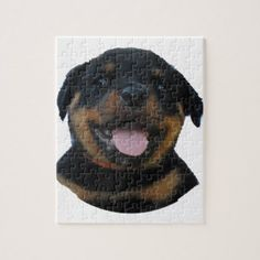 #Happy Male Rottweiler Puppy Jigsaw Puzzle - #rottweiler #puppy #rottweilers #dog #dogs #pet #pets #cute
